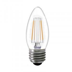 Светодиодная лампа General Свеча E27 8W(640lm) 4500K 4K 35x96 филамент (нитевидная), прозр 649975