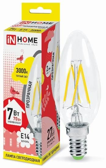 Светодиодная лампа ASD/inHome Свеча C37 E14 7W 3000К 2K 98x35 филамент (нитевидная), прозр. 7601