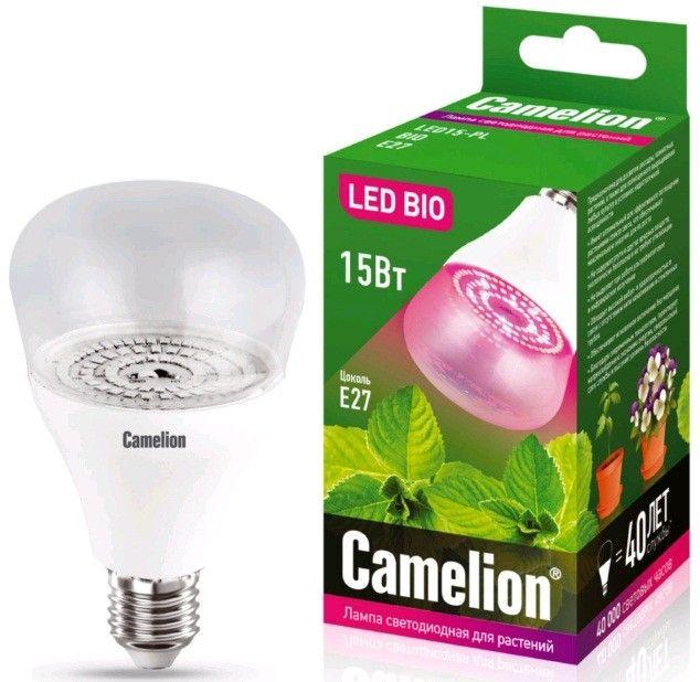Светодиодная лампа Camelion лампа св/д для растений E27 15W(120°) прозрачная 150x90 LED15-PL/BIO/E27