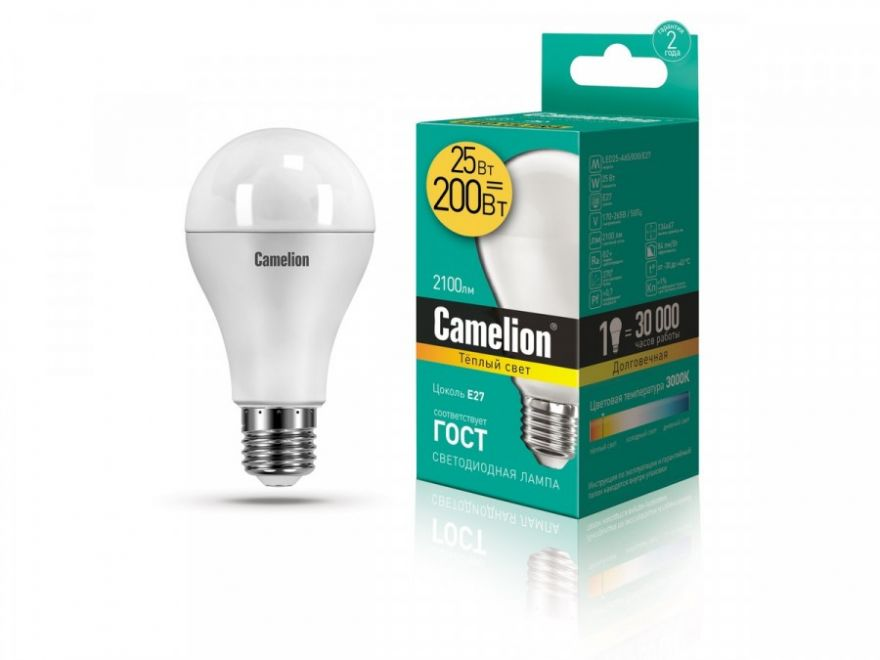 Светодиодная лампа Camelion ЛОН A65 E27 25W(2100lm 270°) 3000K 2K матов. 134x67 LED25-A65/830/E27
