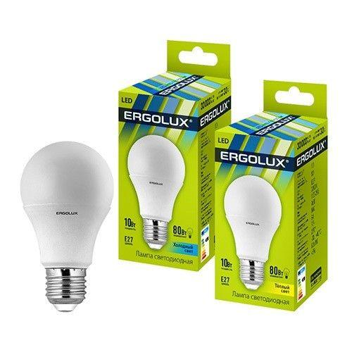 Светодиодная лампа Ergolux ЛОН A60 E27 10W(910lm 270°) 6500K 6K матовая 110x60 пластик/алюм. LED-A60-10W-E27-6K