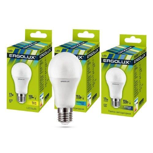 Светодиодная лампа Ergolux ЛОН A60 E27 17W(1600lm 270°) 6500K 6K матовая 120x60 пластик/алюм. LED-A60-17W-E27-6K