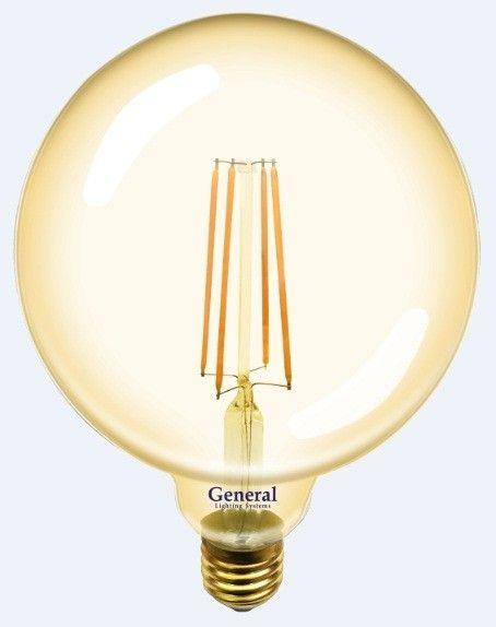 Светодиодная лампа General LOFT шар G125S E27 8W 2700K 2K 125x165 филамент (нитевидная) золотая 655309