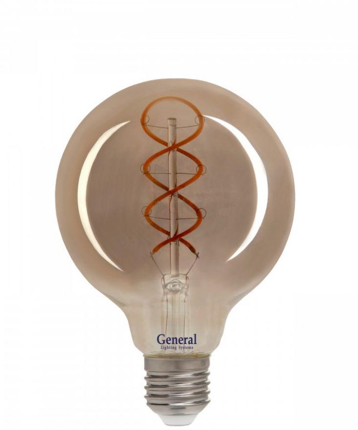 Светодиодная лампа General LOFT шар G95DSS E27 6W 1.8K 95х136 филамент (нитевидная) дымчатая 684900