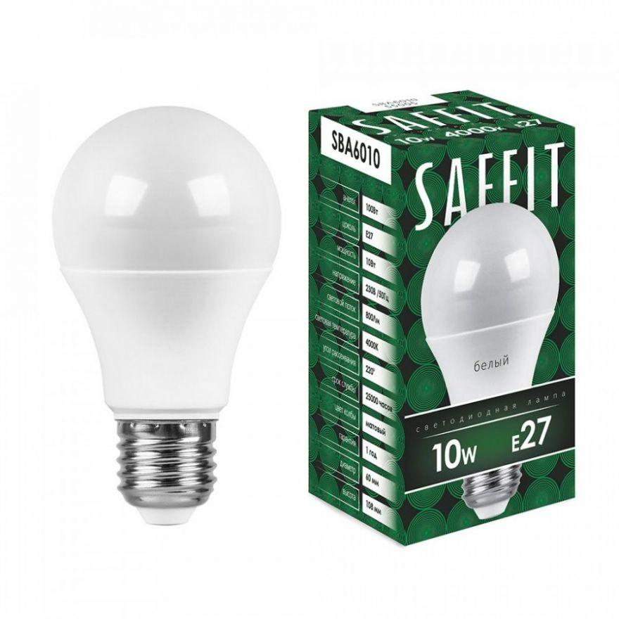 Светодиодная лампа Saffit ЛОН А60 E27 10W(800lm 220°) 4000K 4K матовая 112x60  SBA6010 55005