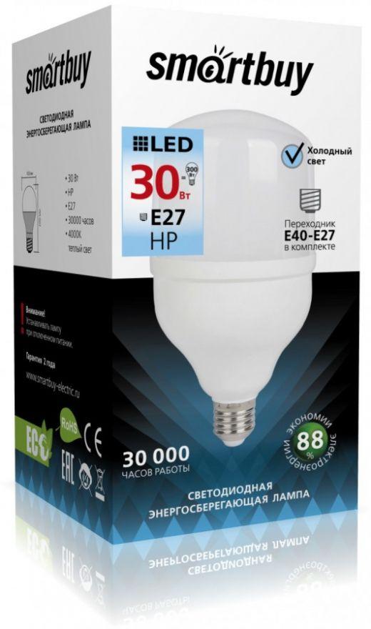 Светодиодная лампа Smartbuy высокомощн. ЛОН E27 30W(2700lm) 6500K 6K 100x200 SBL-HP-30-65K-E27