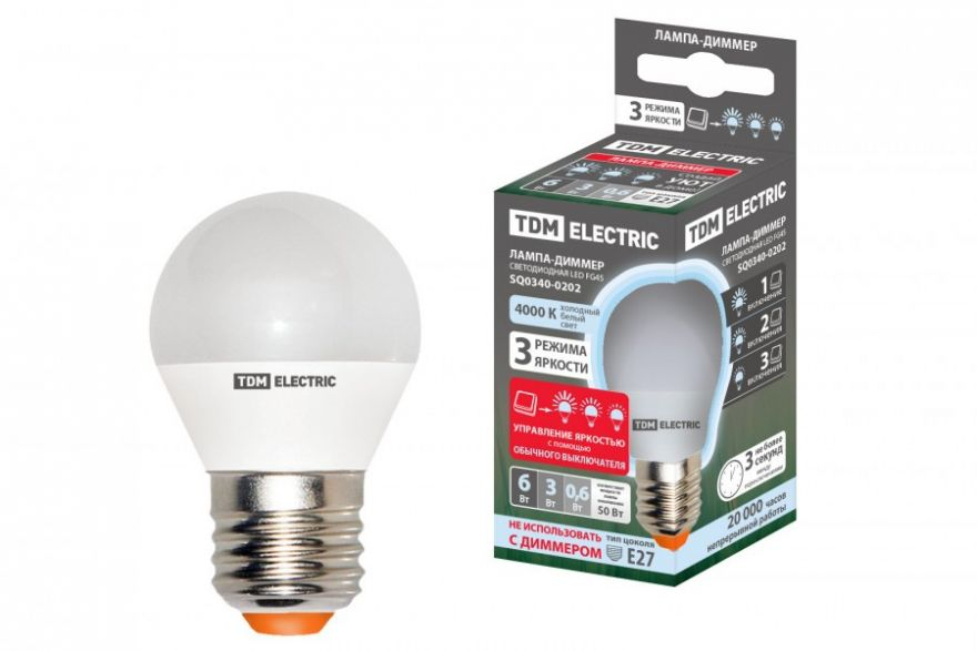 Светодиодная лампа TDM лампа FG45-6 Вт-230 В-4000 К–E27 ''Лампа-ДИММЕР'' SQ0340-0202