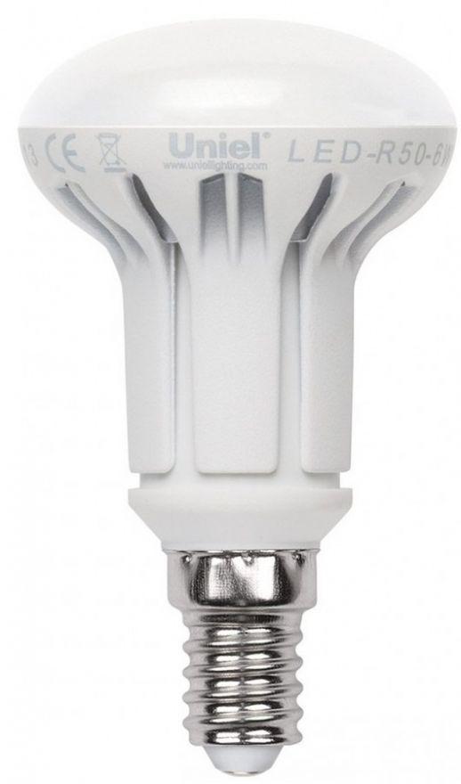 Светодиодная лампа Uniel R50 димм. E14 6W(550lm 120°) 4500K 4K матовая 50x87 термопл. LED-R50-6W/NW/E14/FR/DIM PLP01WH