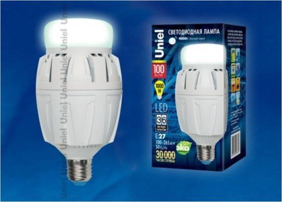 Светодиодная лампа Uniel высокомощн. E27 100W(10000lm 180°) 4000K 4K алюм/матов. 187x98 LED-M88-100W/NW/E27/FR