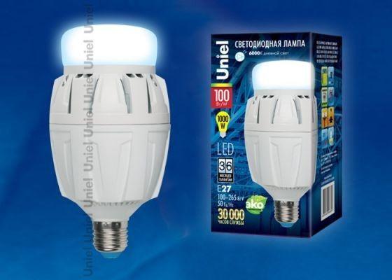 Светодиодная лампа Uniel высокомощн. E27 100W(10000lm 180°) 6500K 6K алюм/матов. 187x98 LED-M88-100W/DW/E27/FR