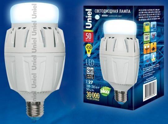 Светодиодная лампа Uniel высокомощн. E27 50W(4600lm 180°) 6000K 6K алюм/матов. 166x88 LED-M88-50W/DW/E27/FR