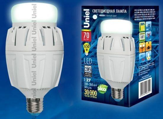 Светодиодная лампа Uniel высокомощн. E27 70W(6500lm 180°) 4000K 4K алюм/матов. 166x88 LED-M88-70W/NW/E27/FR