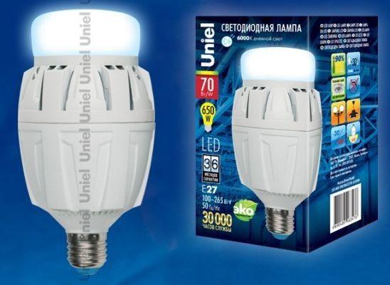 Светодиодная лампа Uniel высокомощн. E27 70W(6500lm 180°) 6500K 6K алюм/матов. 166x88 LED-M88-70W/DW/E27/FR