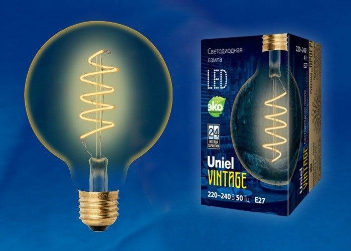 Светодиодная лампа Uniel Шар G95 E27 4W(400lm) 2250K филамент (нитевидн) золот. Vintage 95x136 LED-G95-4W/GOLDEN/E27/CW