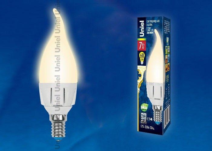 Светодиодная лампа Uniel ЯРКАЯ свеча на ветру C37 E14 7W(600lm 240°) 3000K мат 37x109 термопл. LED-CW37 7W/WW/E14/FR