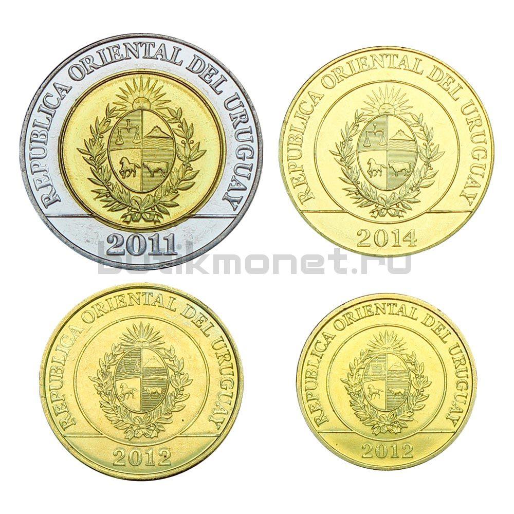Набор монет 2011-2014 Уругвай (4 штуки)
