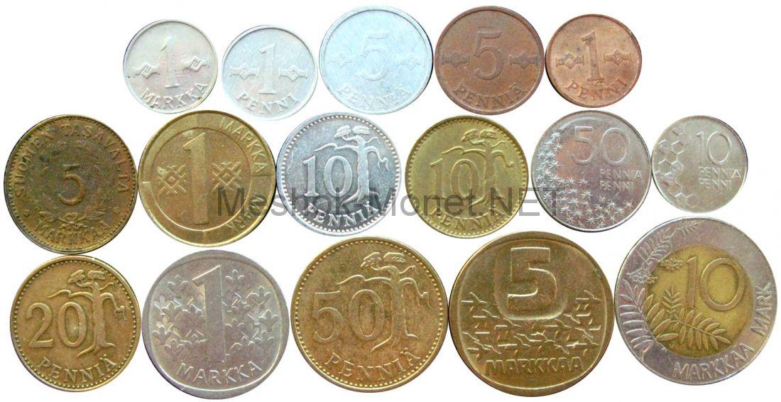 Набор монет Финляндии (16 монет)