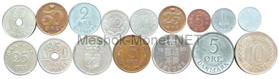 Набор монет Дании (16 монет)