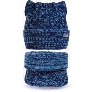 Шапка с ушками и шарф-снуд для девочки 3-5 лет, комплект теплый SG130