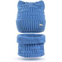 Шапка с ушками и шарф-снуд для девочки 6-12 лет, комплект теплый SG128