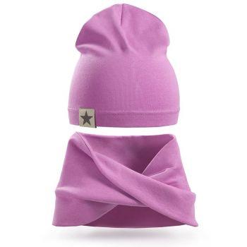 Однотонная шапка и шарф-хомут для девочек 3-5 лет, SG117