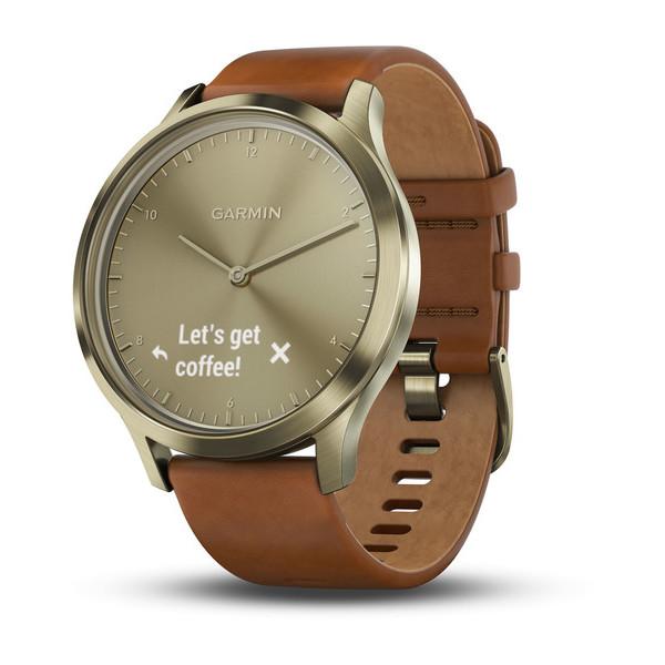 Часы Garmin  Vivomove HR золотые со светло-коричневым кожаным ремешком