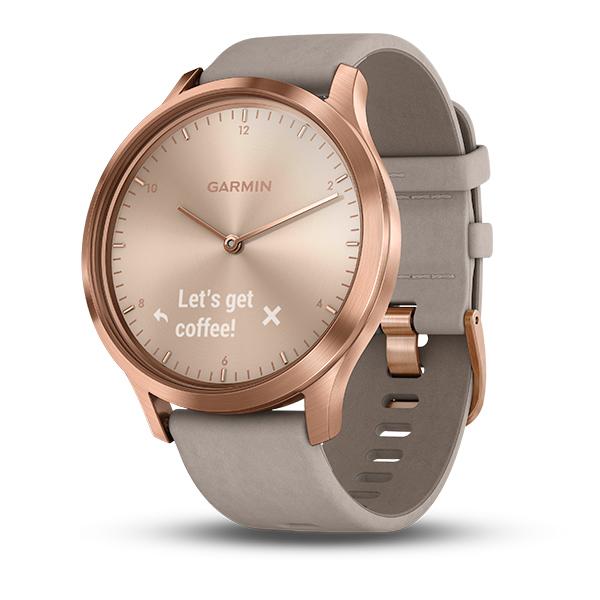 Часы Garmin  Vivomove HR розовое золото с бежевым кожаным ремешком