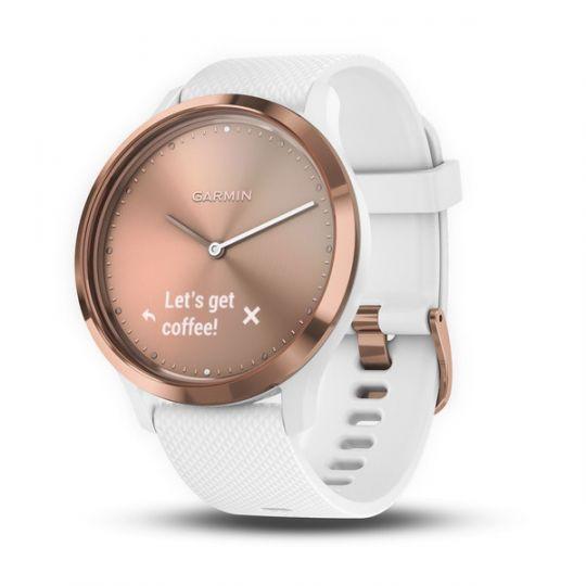 Часы Garmin  Vivomove HR  розовое золото с белым ремешком