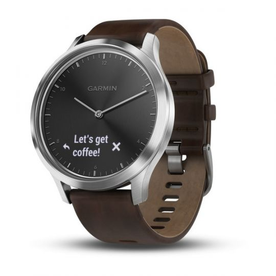 Часы Garmin  Vivomove HR серебряные с темно-коричневым кожаным ремешком