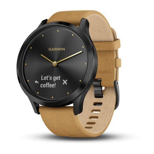 Часы Garmin  Vivomove HR черный оникс с светло-коричневым кожаным ремешком