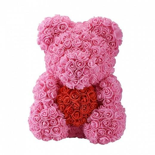 Мишка из роз 40 см с сердцем Розовый