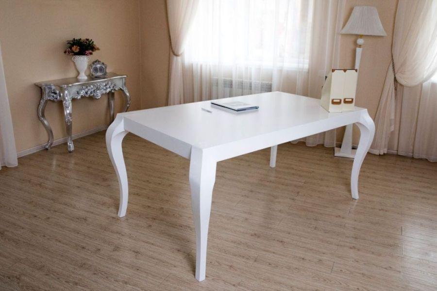 Стол прямоугольный «Quantum» (Квантум)  белый с белыми глянцевыми ножками