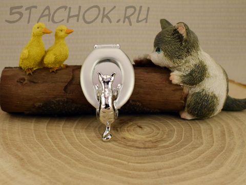 """Брошь """"Любопытный кот"""" цвет серебра (AJC США)"""